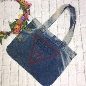 Vintage Guess Jeans Acid Wash Denim Tote Bag